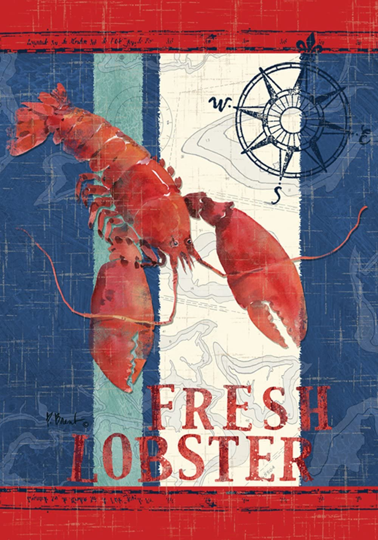 Toland Home Garden Fresh Catch 12.5 x 18 Inch Decorative Lobster Sealife Nautical Compass Garden Flag