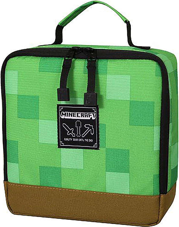 "JINX Minecraft Creeper Block Insulated Kids School Lunch Box, Green, 11.11"" x  11.11"" x 11"""
