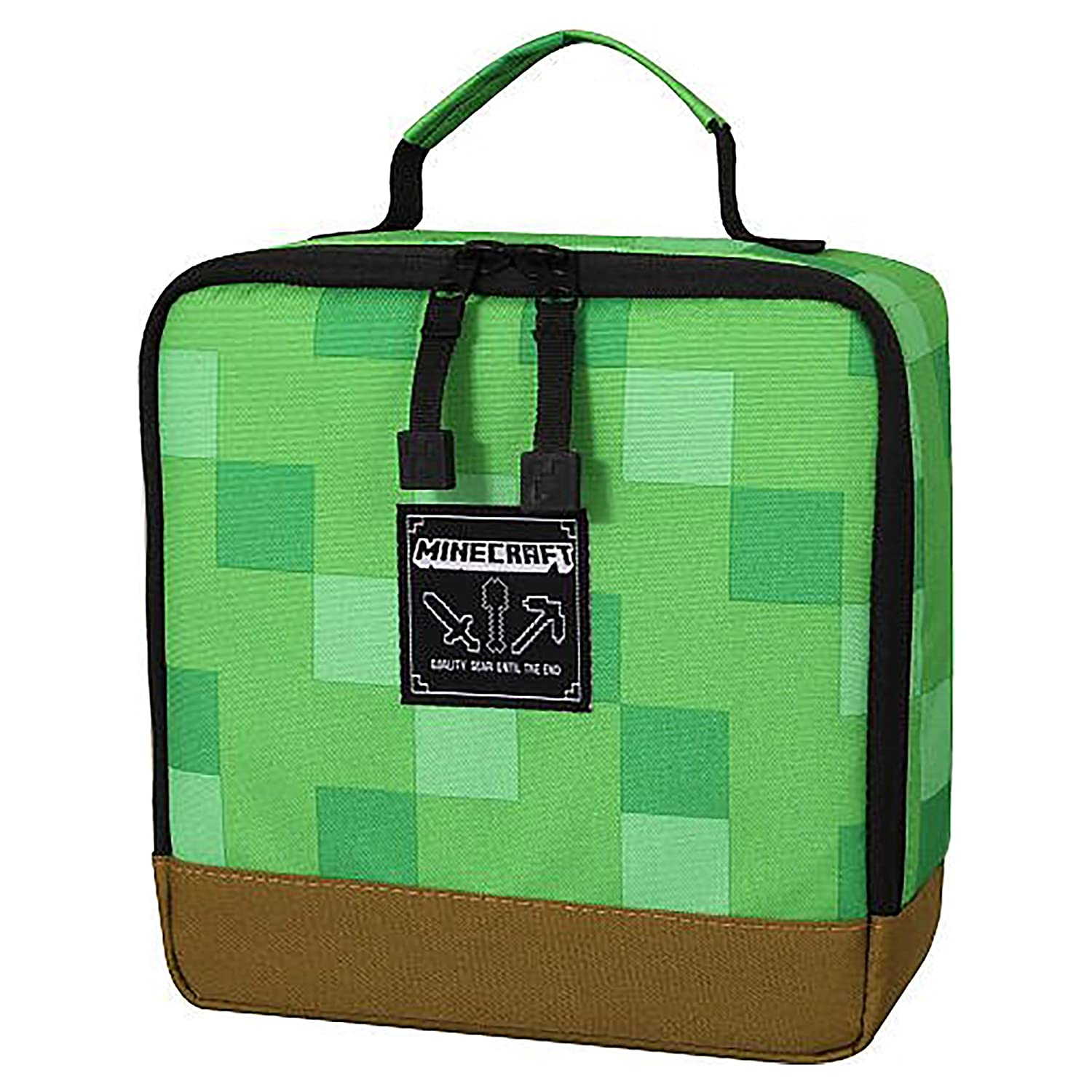 a20ed4dc38 Amazon.com  JINX Minecraft Creepy Creeper Backpack   Creeper Block Lunch  Bag Set  Clothing