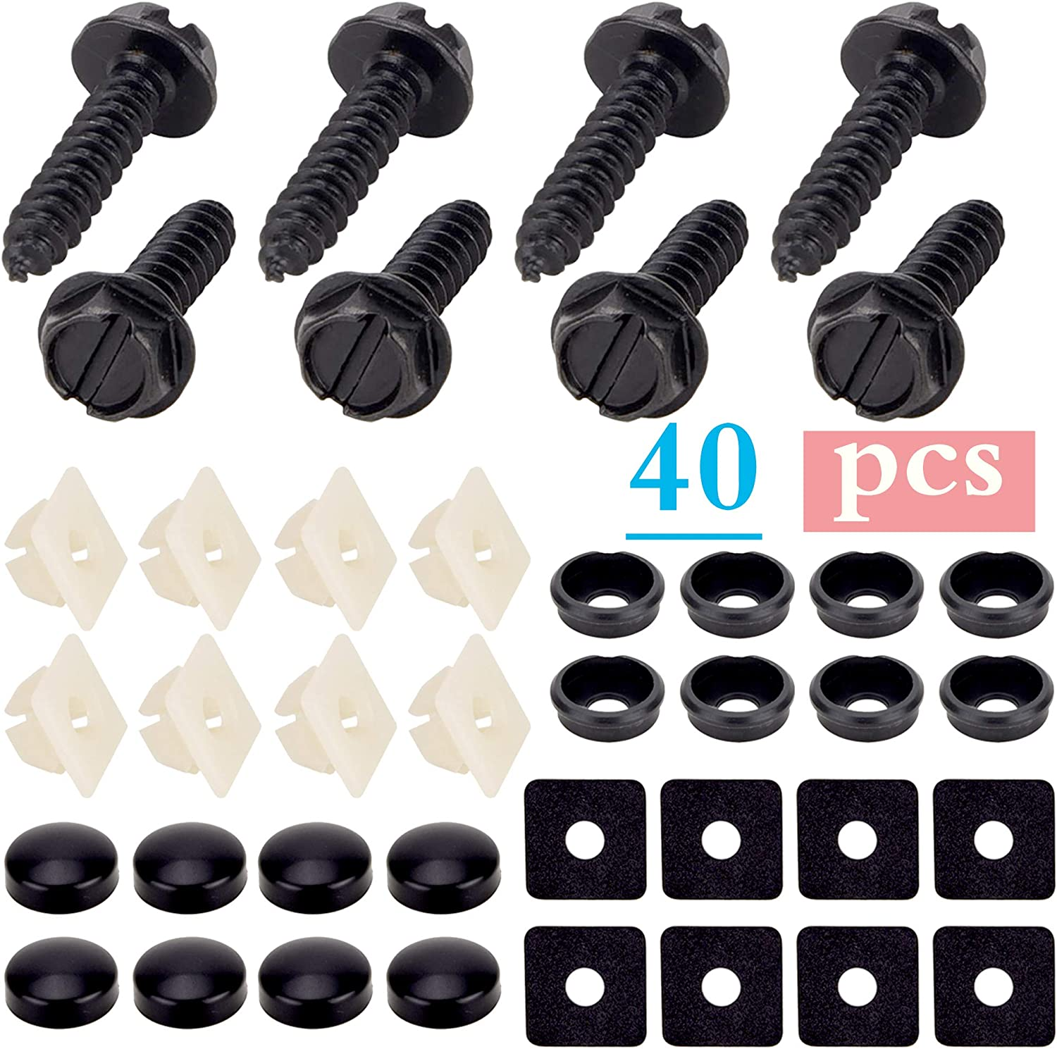 Black Screw Black Screw Cover Nylon Screw Insert Black Shockproof Pad Black Screw Washer for Fastening License Plates Covers and Frames BingSnow 40 Pcs License Plate Screws Inserts Fastener Kit