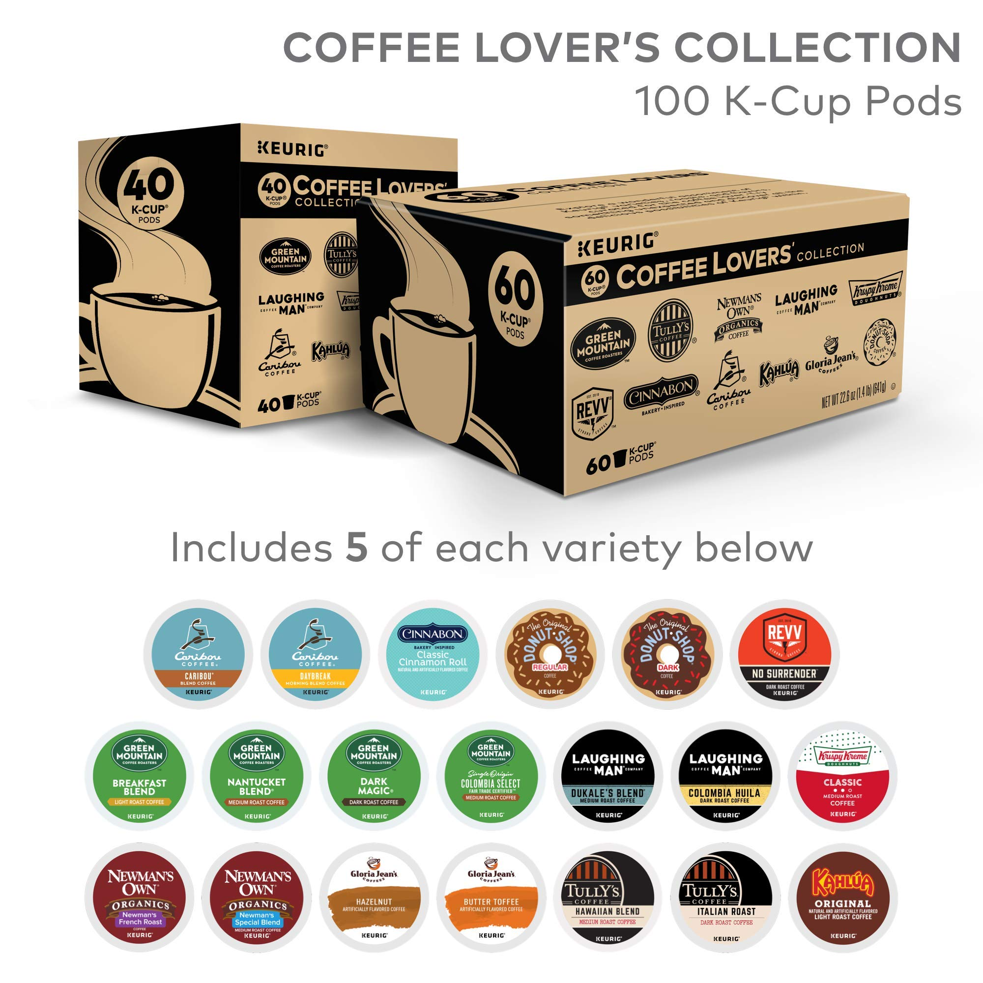 Keurig Coffee Lovers' Collection Variety Pack, Single Serve K-Cup Pods, Compatible with all Keurig 1.0/Classic, 2.0 and K-Café Coffee Makers, 100 Count