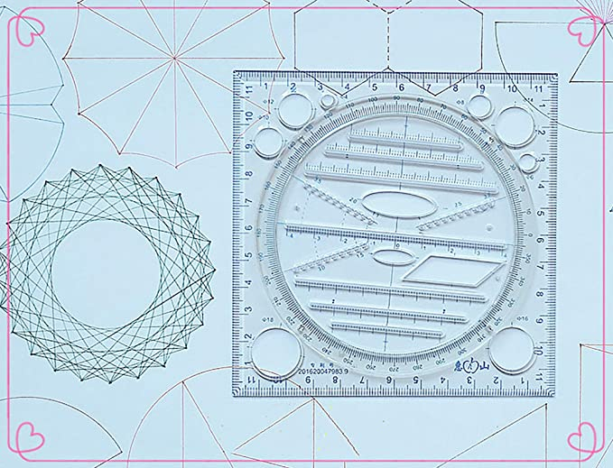 Cutogain Rulers,Stationery,Multifunctional Drawing Ruler Multipurpose Draw Round Curve Horizontal Parallel Line Vertical Parallel Line