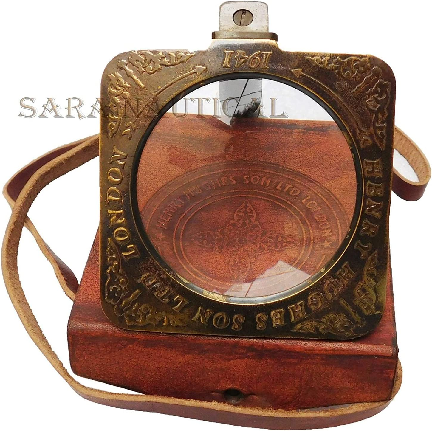 Large 10/'/' Antique Brass Henry Hughes Magnifying Nautical With Leather Case