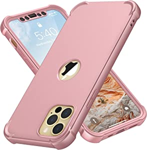 Designed for iPhone 12 Pro Max Case, ORETech Compatible with iPhone 12 Pro Max Case with [2 x Tempered Glass Screen Protector]360° Heavy Duty Protective Cover for iPhone 12 Pro Max Case 6.7''Rosegold