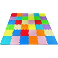 Yes4All Foam Puzzle Play Mat for Kids - Baby Floor Mats/Kids Play Mats - 36 Tiles with Edges, 9 Colors