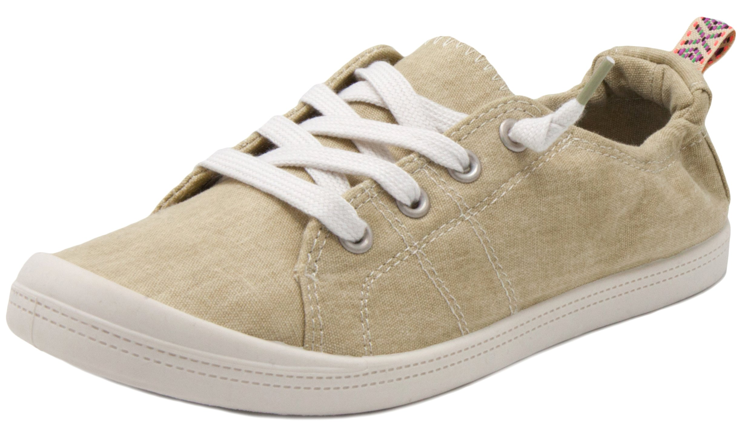 Rampage Women's Grateful Comfortable Slip On Sneaker Shoe with No-Tie Laces and Cute Design 8 Natural Wash Cotton