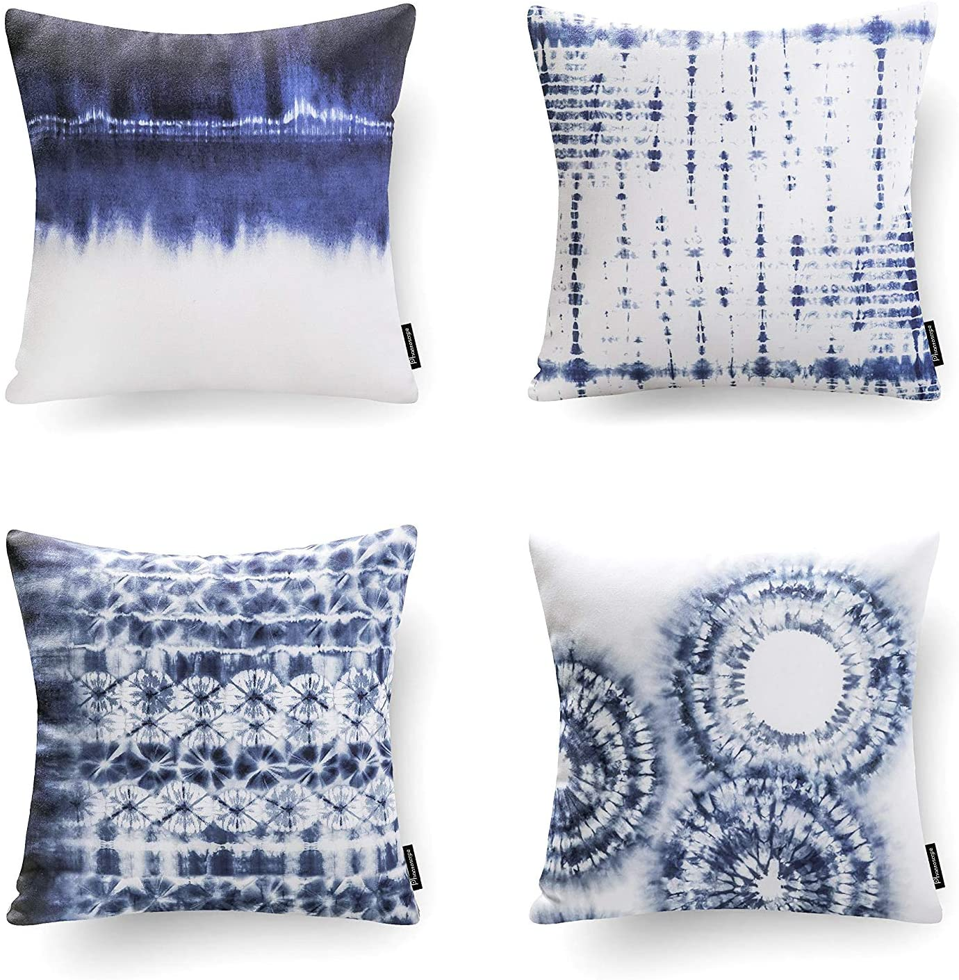 Phantoscope Set of 4 Porcelain Watercolor Printed Decorative Throw Pillow Case Cushion Cover, Blue and White, 18 x 18 inches, 45 x 45 cm