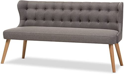 Baxton Studio Parisa Grey Fabric Natural Wood Finishing 3 Seater Settee Bench