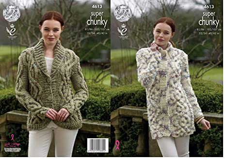 c6e2fa18e00b King Cole Ladies Super Chunky Knitting Pattern Womens Cable Knit Cardigan    Coatigan (4613)  Amazon.co.uk  Kitchen   Home