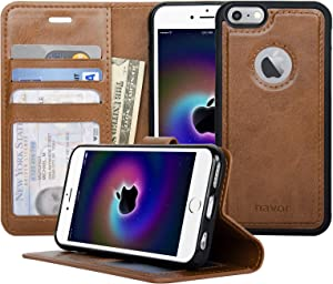 Navor Auto Align Detachable Magnetic Wallet Case Compatible for iPhone 6 / 6s [RFID Theft Protection] JOOT-1L Series - Brown (IP61LBR)
