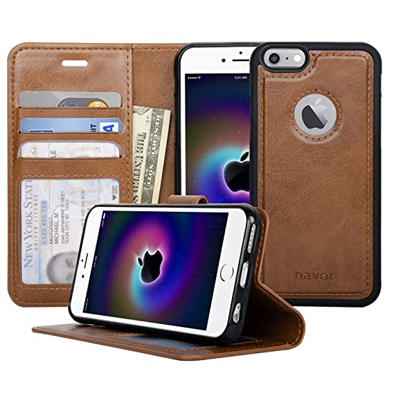 sale retailer 6715a 84827 Navor Auto Align Detachable Magnetic Wallet Case Compatible for iPhone 6 /  6s [RFID Theft Protection] JOOT-1L Series - Brown (IP61LBR)