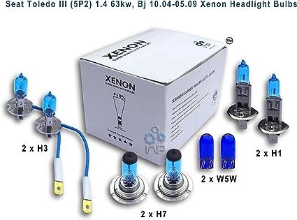 Xenón efecto bombillas coche H3 para faros H1 H7 W5 W, (8 unidades): Amazon.es: Coche y moto