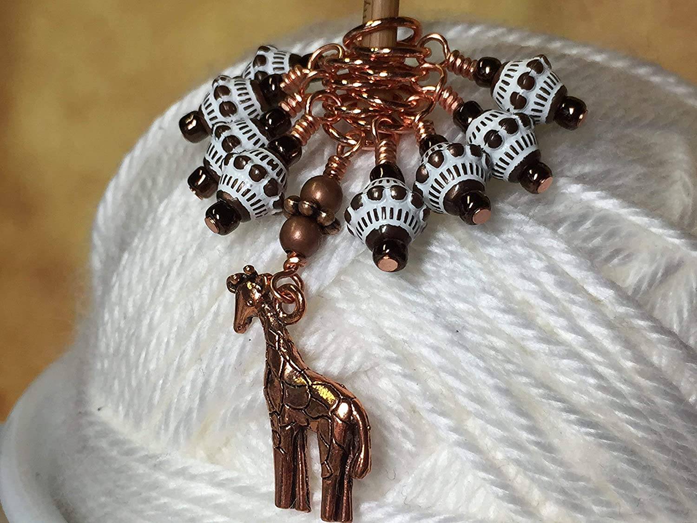 Copper Giraffe Beaded Knitting Stitch Markers SNAG FREE