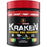 Sparta Nutrition Kraken - Top Rated Extreme Pre Workout Powder - Increase Energy, Boost Nitric Oxide and Mental Focus with Citrulline, Beta Alanine and Nootropics - Sour Gummy Bear - 40 Servings