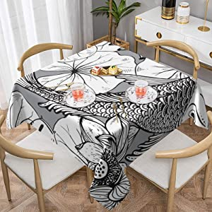 Black Line Art Japanese Koi Fish with Lotus Leaves Washable Square Round Tablecloths,Waterproof Spill Table Cloth Table Cover for Tabletop Kitchen Dinning Picnic Banquet Decoration Wedding Party,60