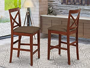 East West Furniture X-Back stool counter height dining chairs-Microfiber Upholstery Seat and Brown Solid wood Structure Counter height dining chairs set of 2