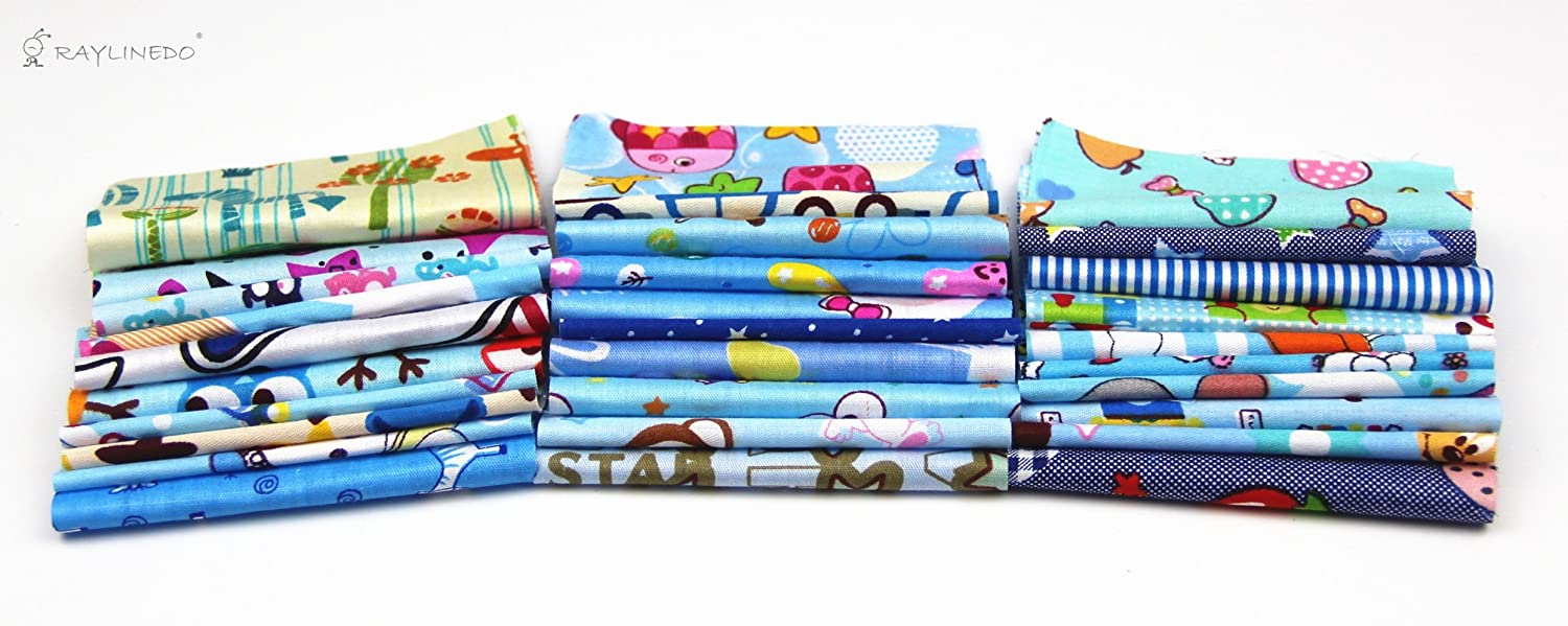 RayLineDo 10Pc Different Pattern Multi Color Cotton Poplin Fabric Fat Quarter Bundle 18 x 22 Patchwork Quilting Fabric With 30pc 1010cm Blue Series and 15pc 2025cm Mixed Squares Bundle Fabric
