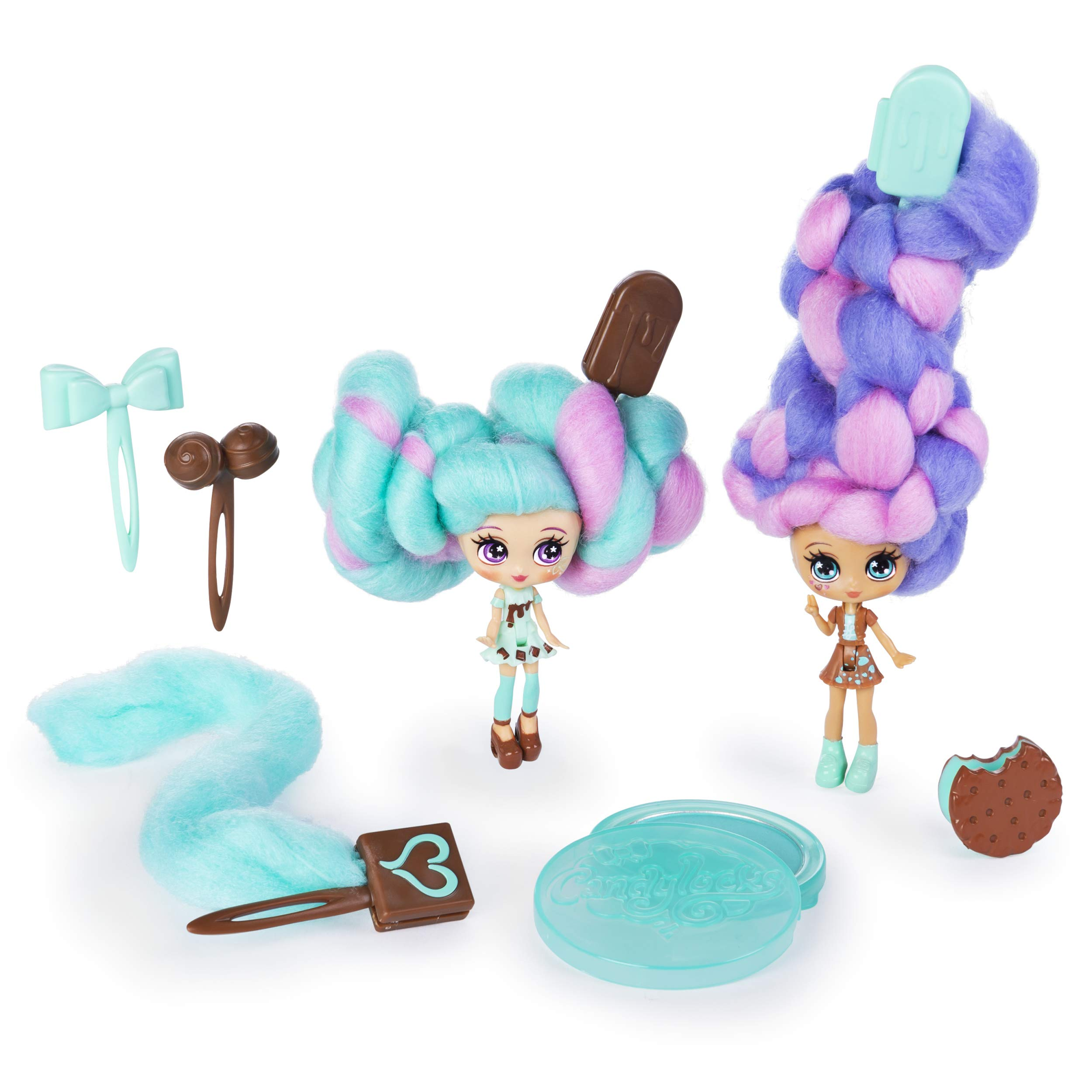 "Candylocks, BFF 2-Pack, 3"" Mint Choco Chick and Choco Lisa, Scented Collectible Dolls with Accessories"