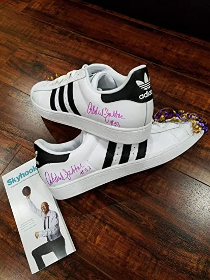 860d10aba2c Image Unavailable. Image not available for. Color  Lakers Kareem Abdul  Jabbar Autographed Signed Adidas Shoes ...