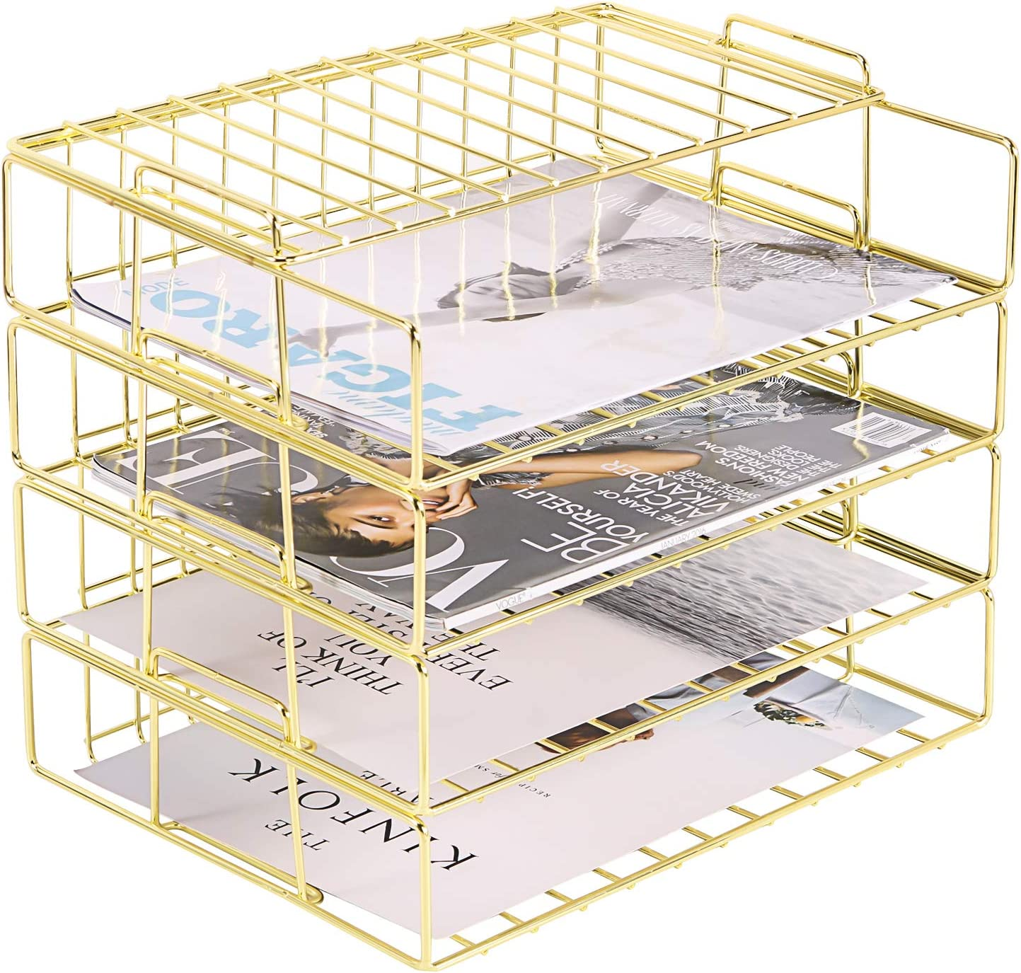 Hosaken Paper Tray, 9 Tier Stackable Letter Tray, Decorative Desk File  Organizer Rack for Office Supplies and Accessories, Letter Size, Gold