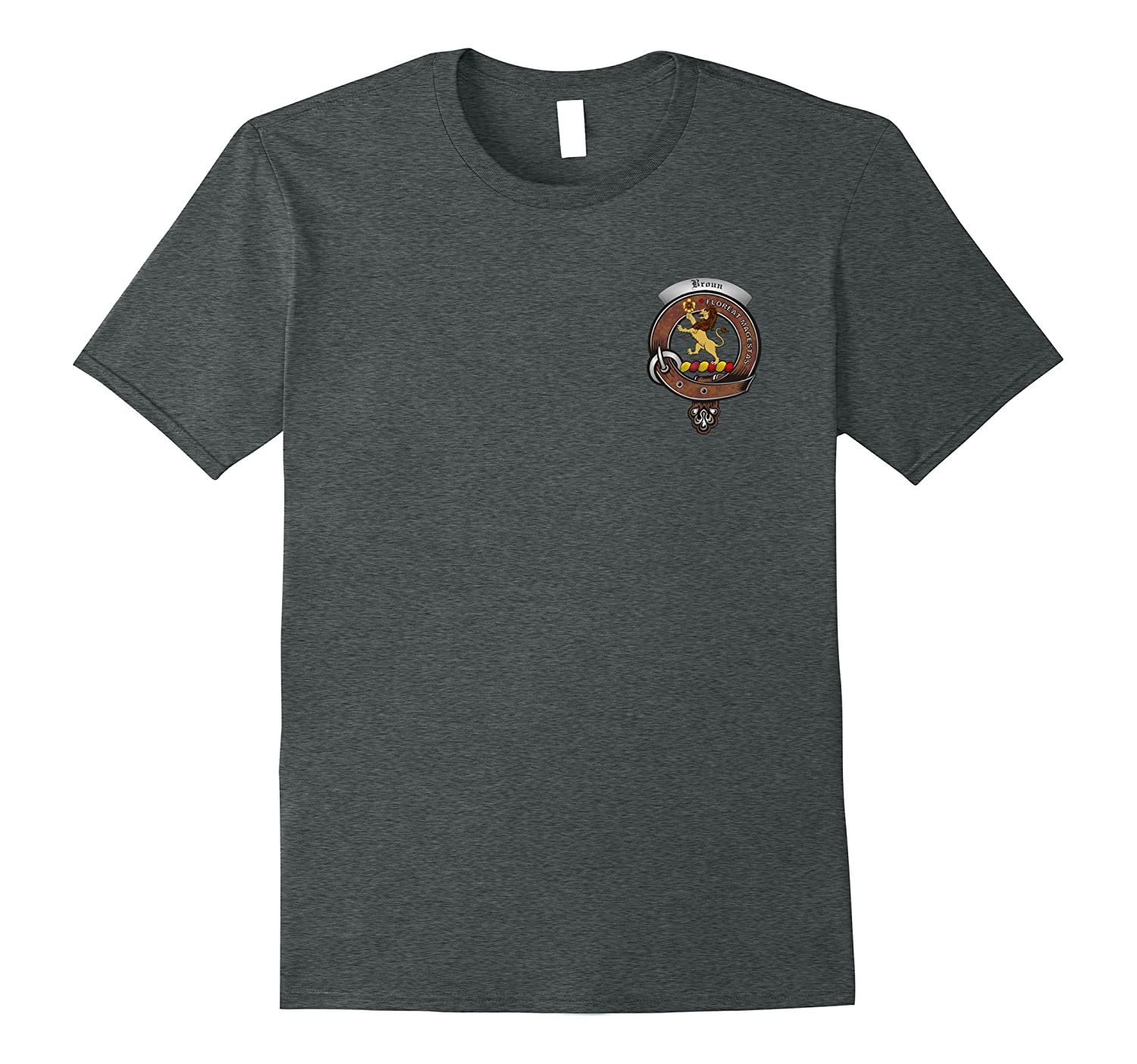 Brown/Broun Clan Badge and Tartan T-Shirt-T-Shirt