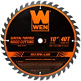 WEN BL1040 10-Inch 40-Tooth Carbide-Tipped Professional Woodworking Saw Blade for Miter Saws and Table Saws