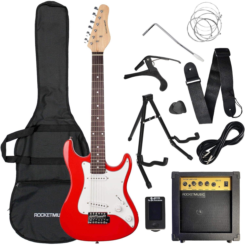 Rocket XF203CRDPK - Paquete de inicio de guitarra eléctrica 3/4, color rojo