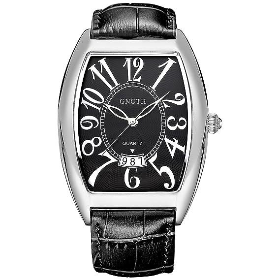 gnoth Hombres Rectangular reloj de pulsera de piel de color negro con la cara de grandes números FECHA: GNOTH: Amazon.es: Relojes