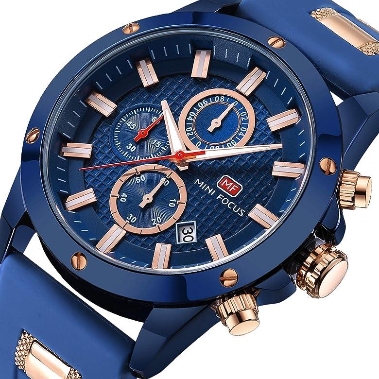 5f3003771 Men Business Watch, MINI FOCUS Quartz Chronograph Watches (Blue, Three  Eyes, Sport