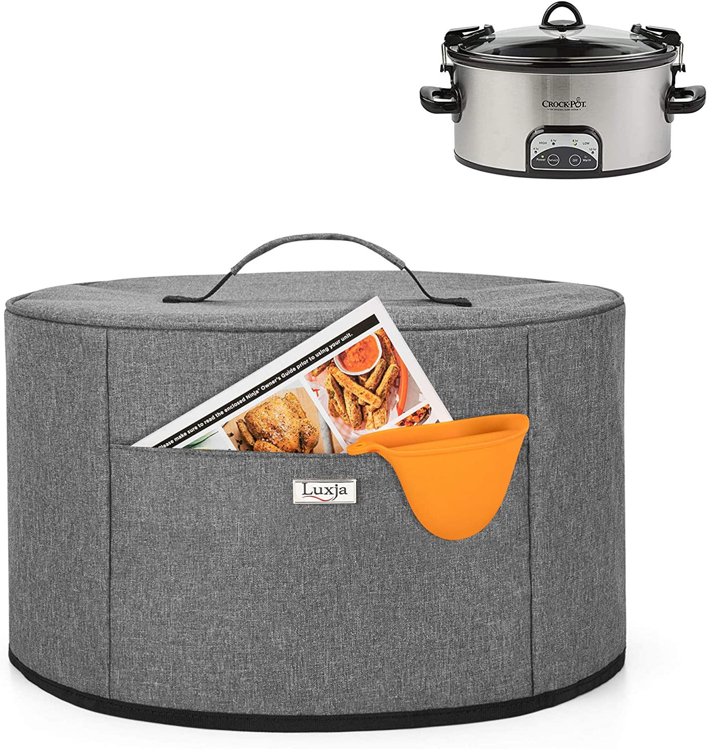 Luxja Slow Cooker Cover (Aluminum Foil Lining), Slow Cooker Dust Cover Fits for Most 6-8 Quart Oval Slow Cooker, Gray