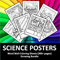 Science Posters 300+ Word Wall Coloring Sheets: Biology, Chemistry, Physics, Earth Science, Human Anatomy, and Astronomy