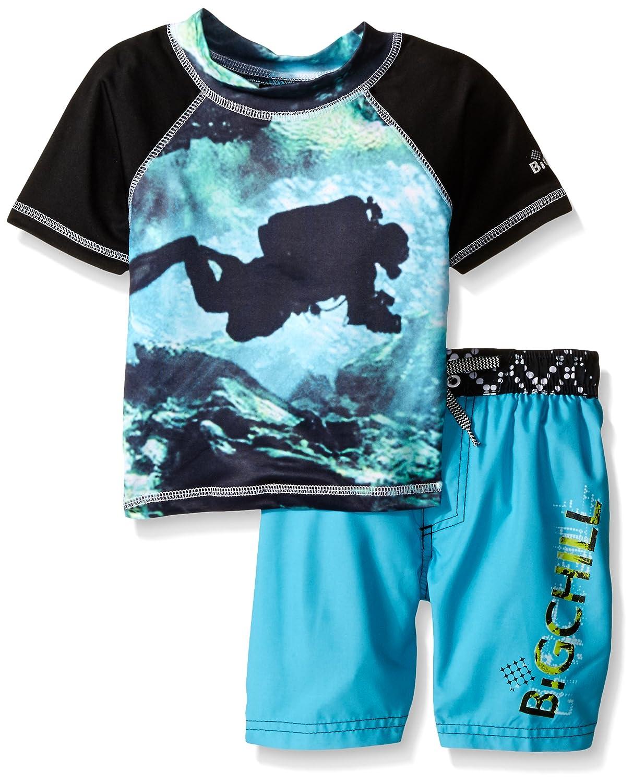 Big Chill Boys' Diver Rash Guard Swim Set Blue 2T BB769039-BLU
