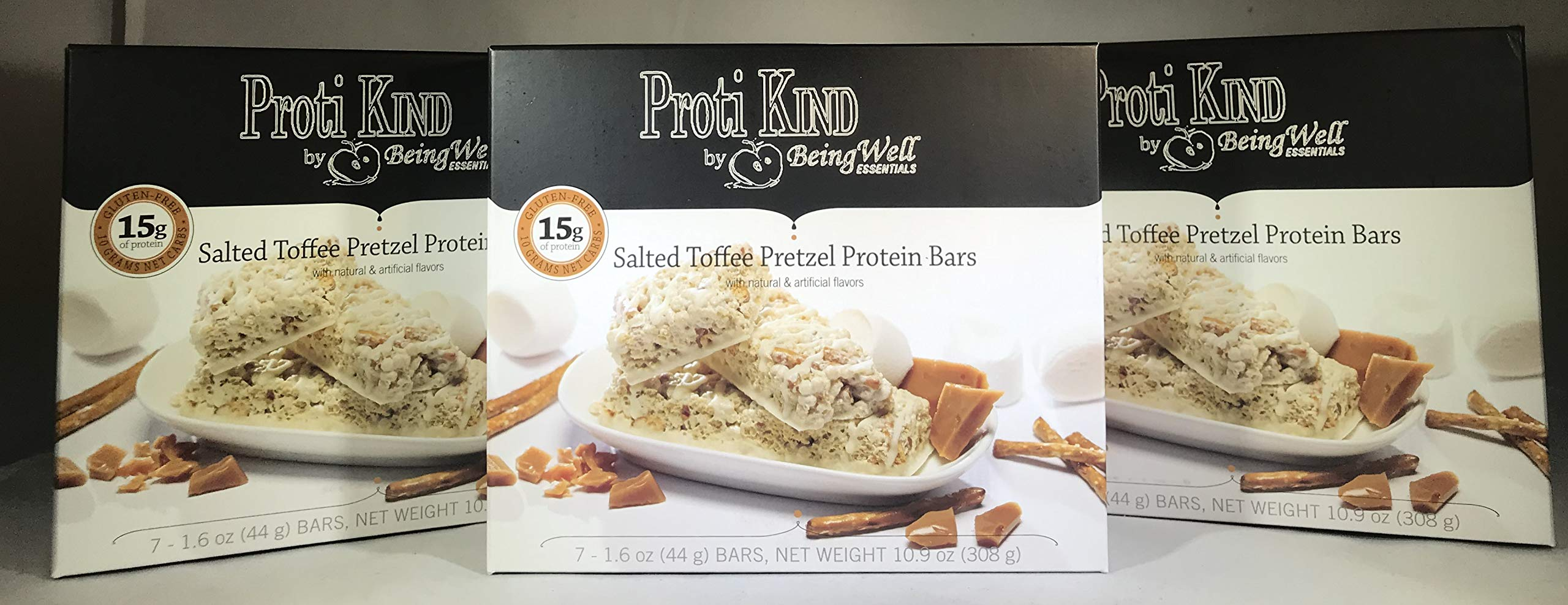 Proti Kind Salted Very Low Carb Toffee Pretzel Protein Bars - THREE PACK - 21 bars