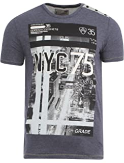 Men/'s graphic print t-shirt short sleeve cotton top Dissident Convex 1C-9051
