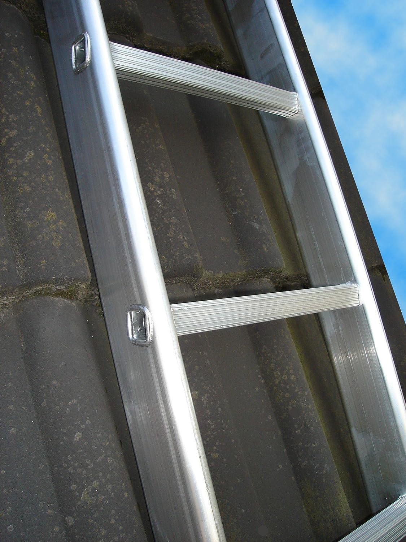 Dachleiter Aluminium 5,41 m Dachdeckerauflegeleiter 20 Sprossen nach BGR 203 gew/ölbte Bremer Sprosse