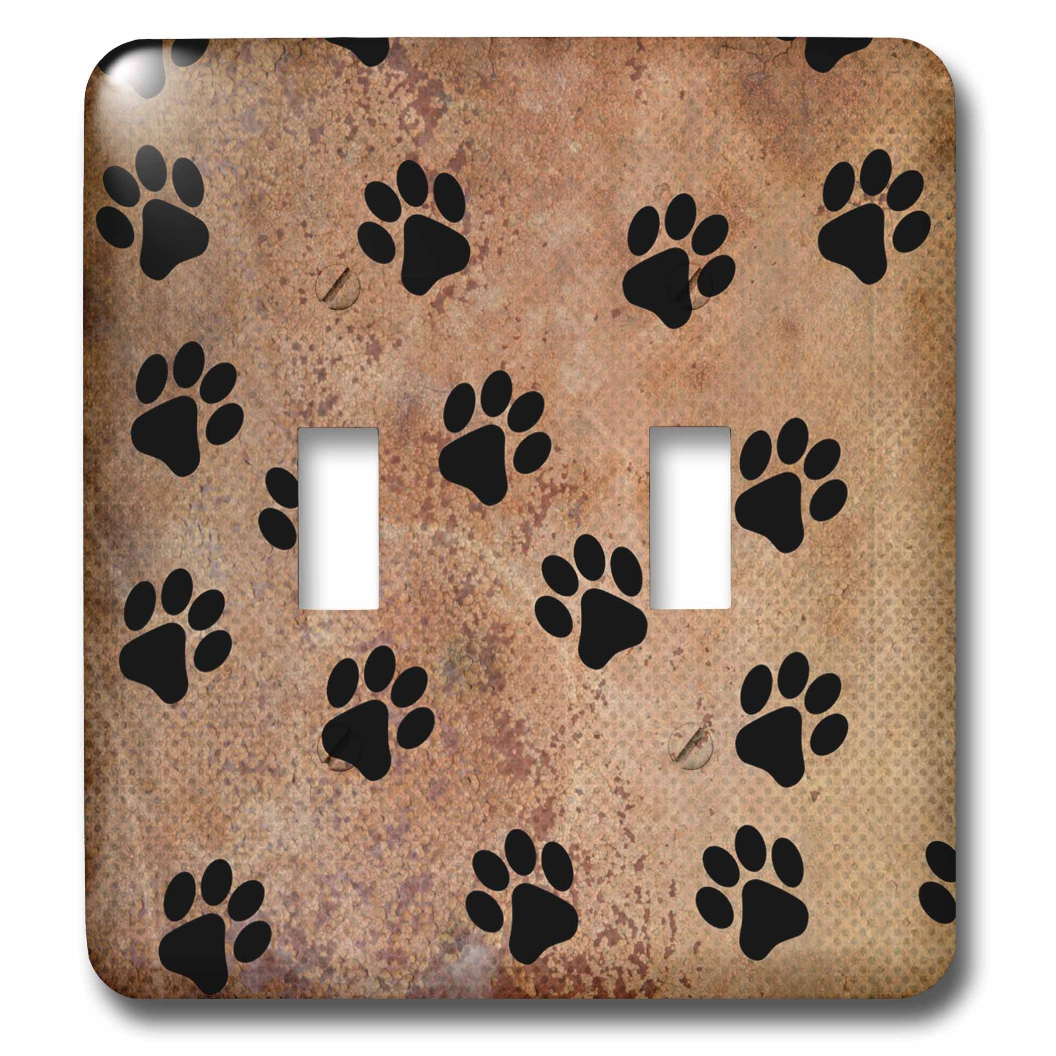 3dRose lsp_240245_2 2 Paw Prints of Animal Trends-Double Toggle Switch