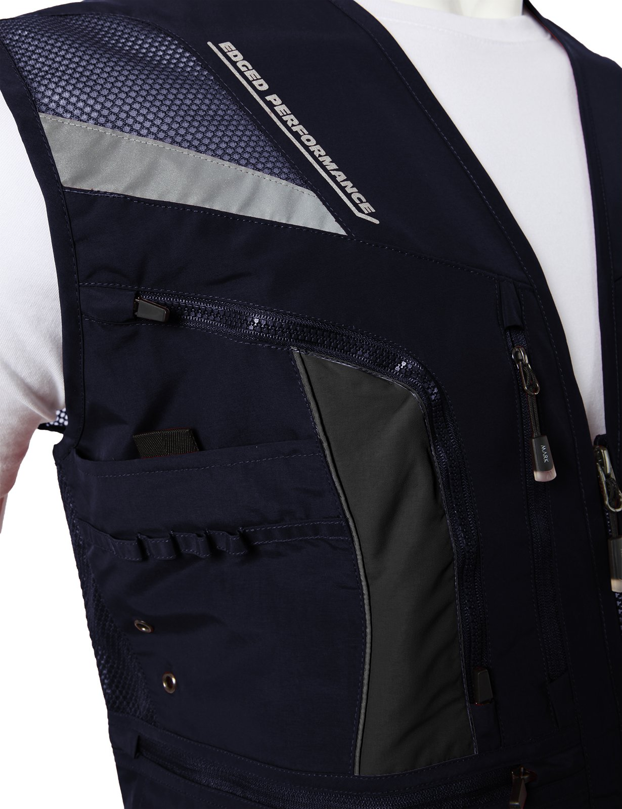 H2H Mens Casual Work Utility Hunting Fishing Vest Travels Sports Mesh Jacket with Multi-Pockets Navy US L/Asia XL (KMOV0144) by H2H (Image #6)