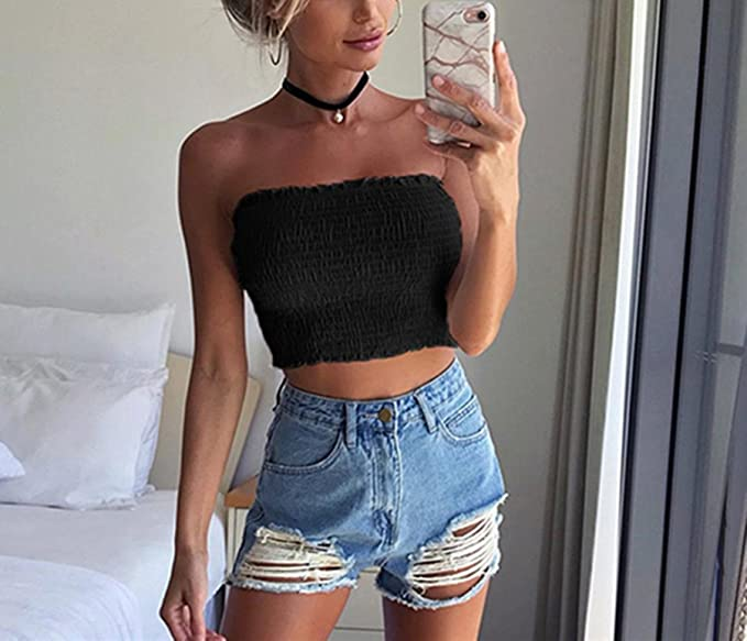 13680c42d01461 BSGSH Women s Sexy Crop Top Off Shoulder Strapless Tube Rib-Knit Sweater  for Party Beach at Amazon Women s Clothing store