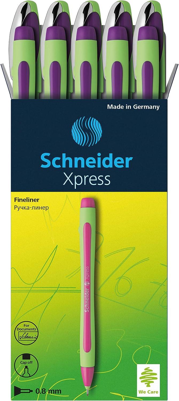 Box of 10 Pens Schneider Xpress Fineliner 0.8mm Porous Point Pen Black 190001