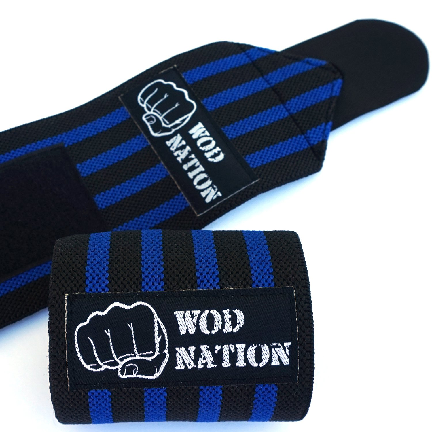 WOD Nation Wrist Wraps by Wrist Support Straps (12'', 18'' or 24'') - Fits Both Men & Women - Strength Training, Weightlifting, Powerlifting - Lift Heavier Weight (18 Inch - Black/Dk Blue) by WOD Nation (Image #4)