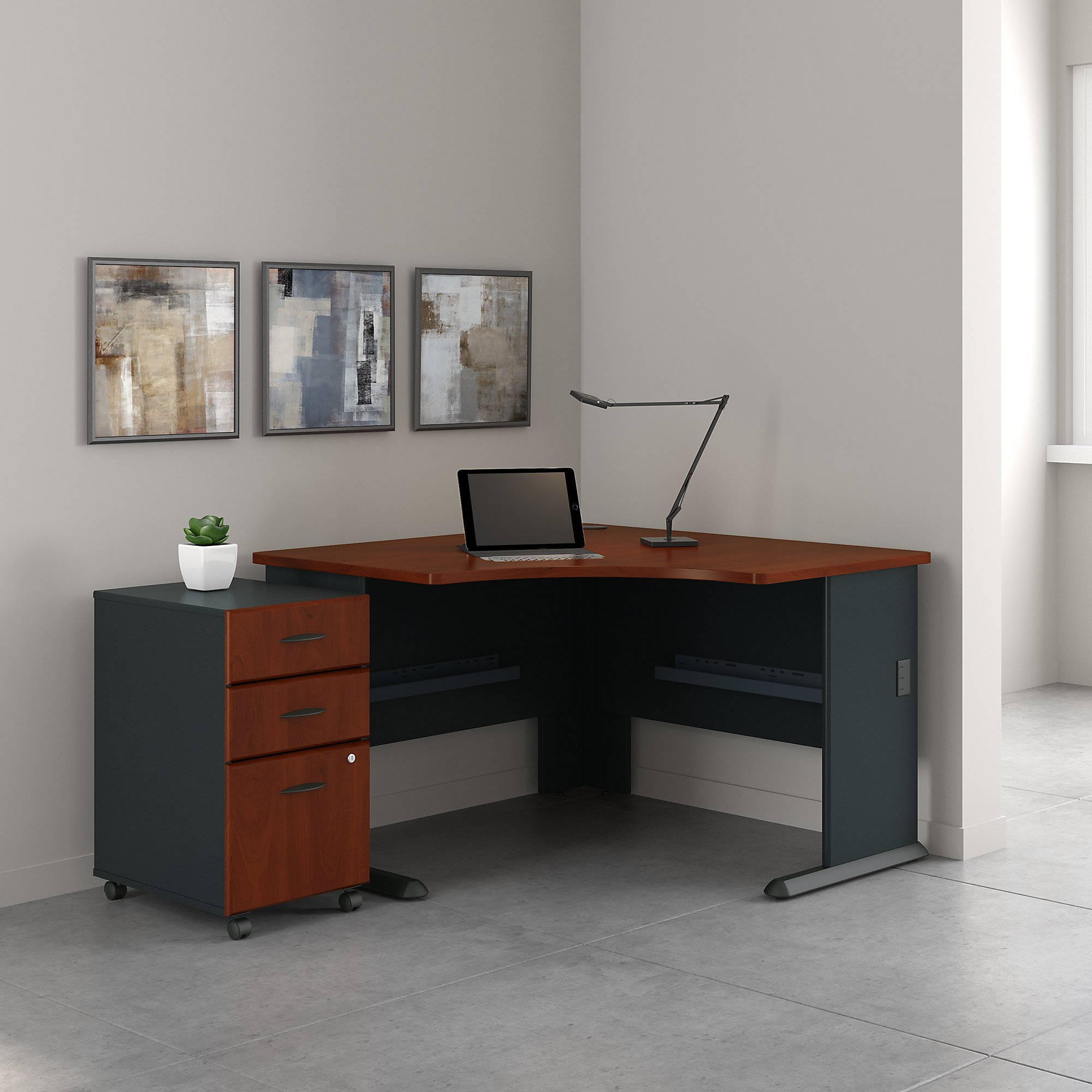 Bush Business Furniture Series A 48W Corner Desk with Mobile File Cabinet in Hansen Cherry and Galaxy by Bush Business Furniture