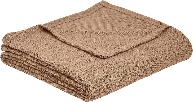 AmazonBasics Cotton Woven Throw Blanket - 66 x 90 Inches, Taupe