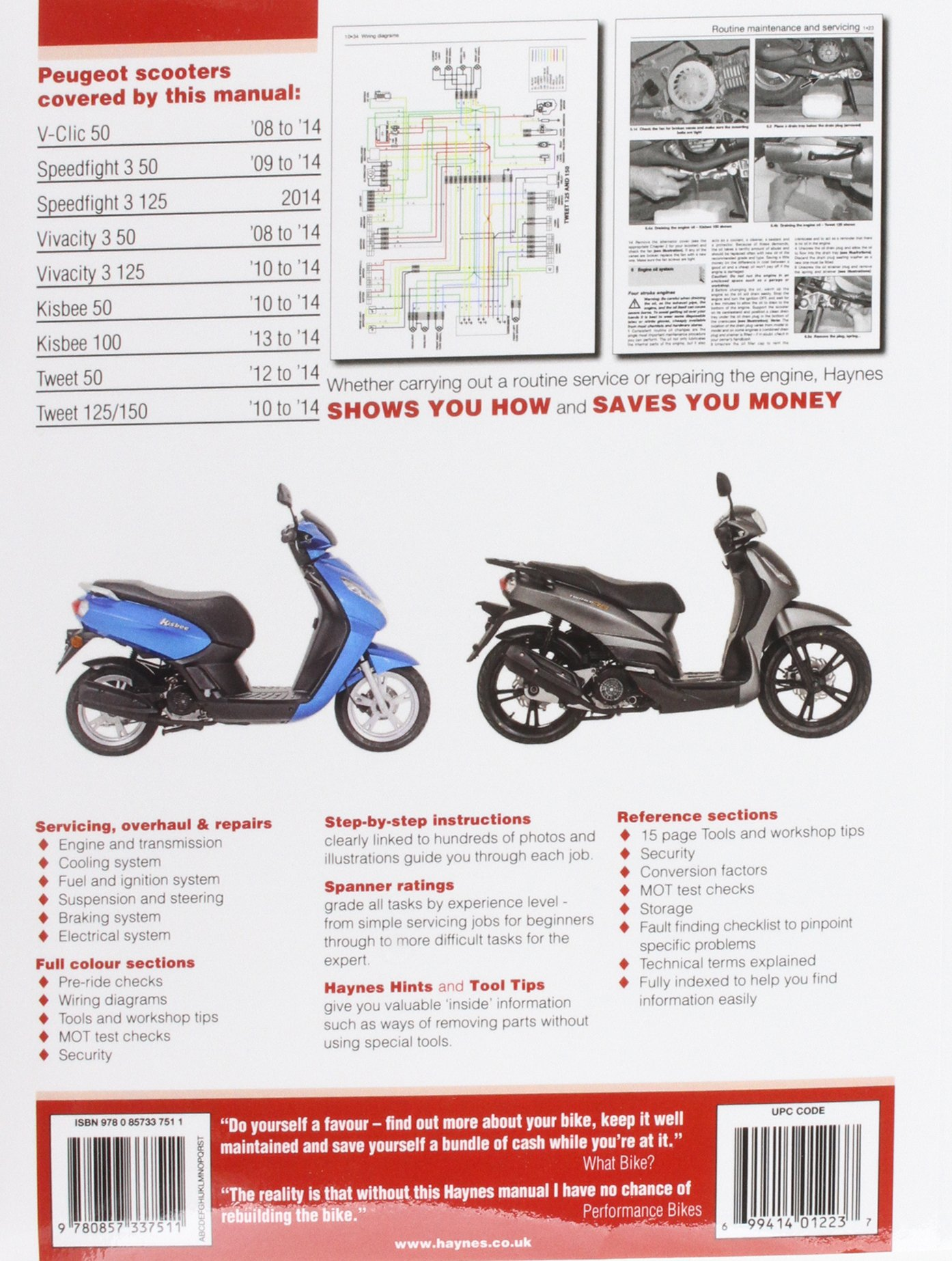 Buy Peugeot V-Clic, Speedfight 3, Vivacity 3, Kisbee & Tweet (08 To 14)  (Haynes Service & Repair Manual) Book Online at Low Prices in India |  Peugeot V-Clic ...