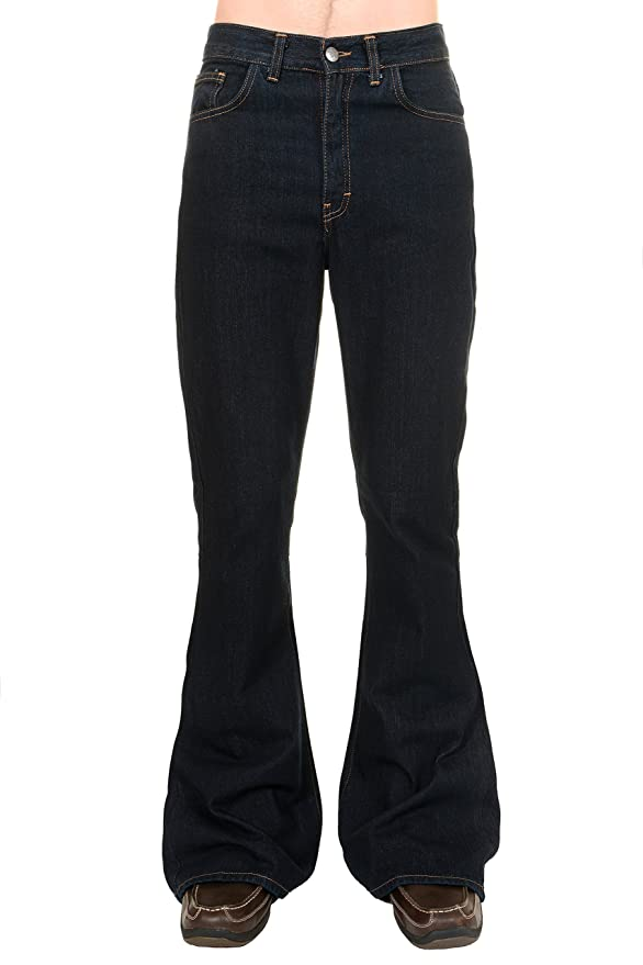 Women's 1960s Style Pants Mens Run & Fly 60s 70s Indigo Denim High Rise Bell Bottom Flares $47.95 AT vintagedancer.com