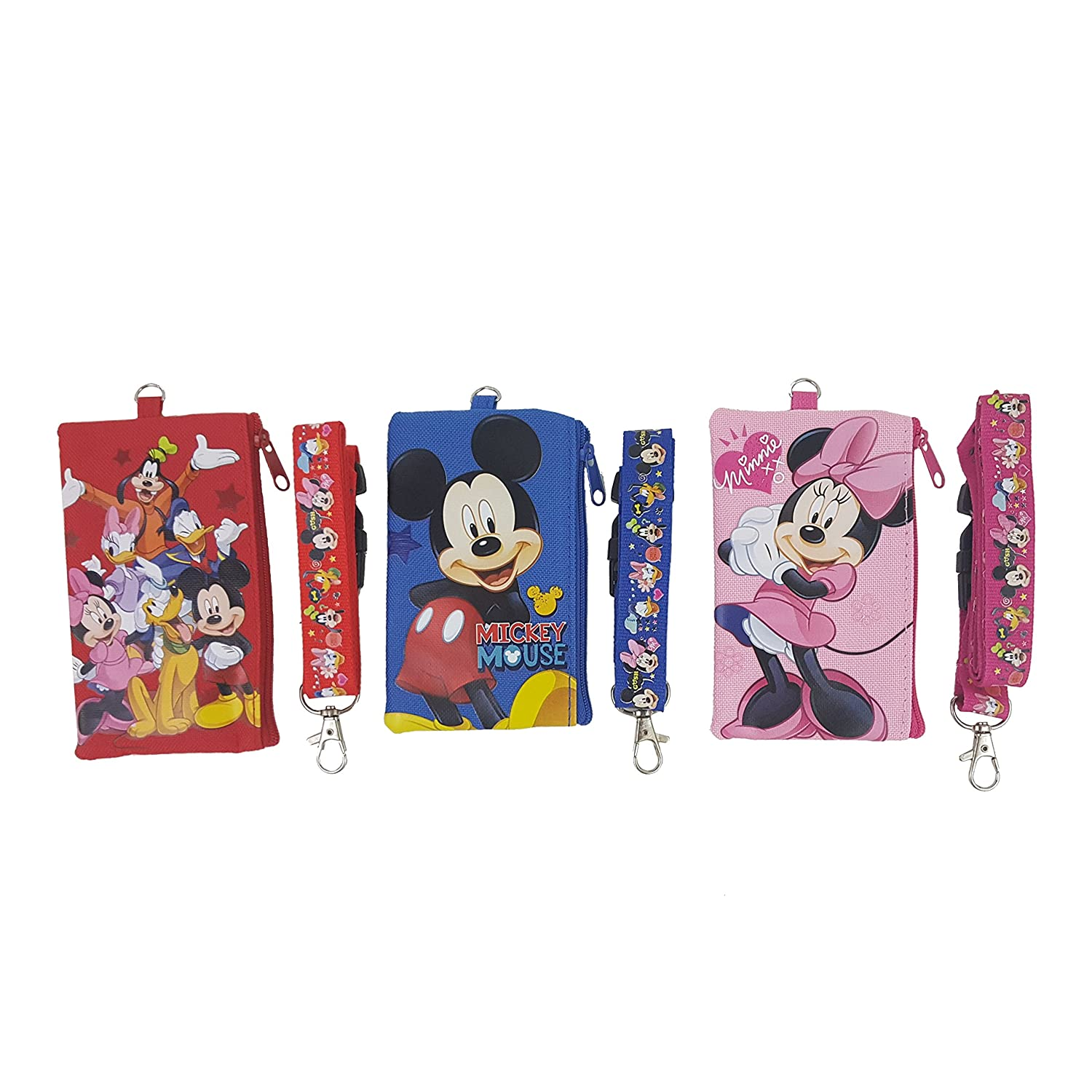 1 X Disney Set of 3 Mickey and Friends Lanyards with Detachable Coin Purse by Unknown USA