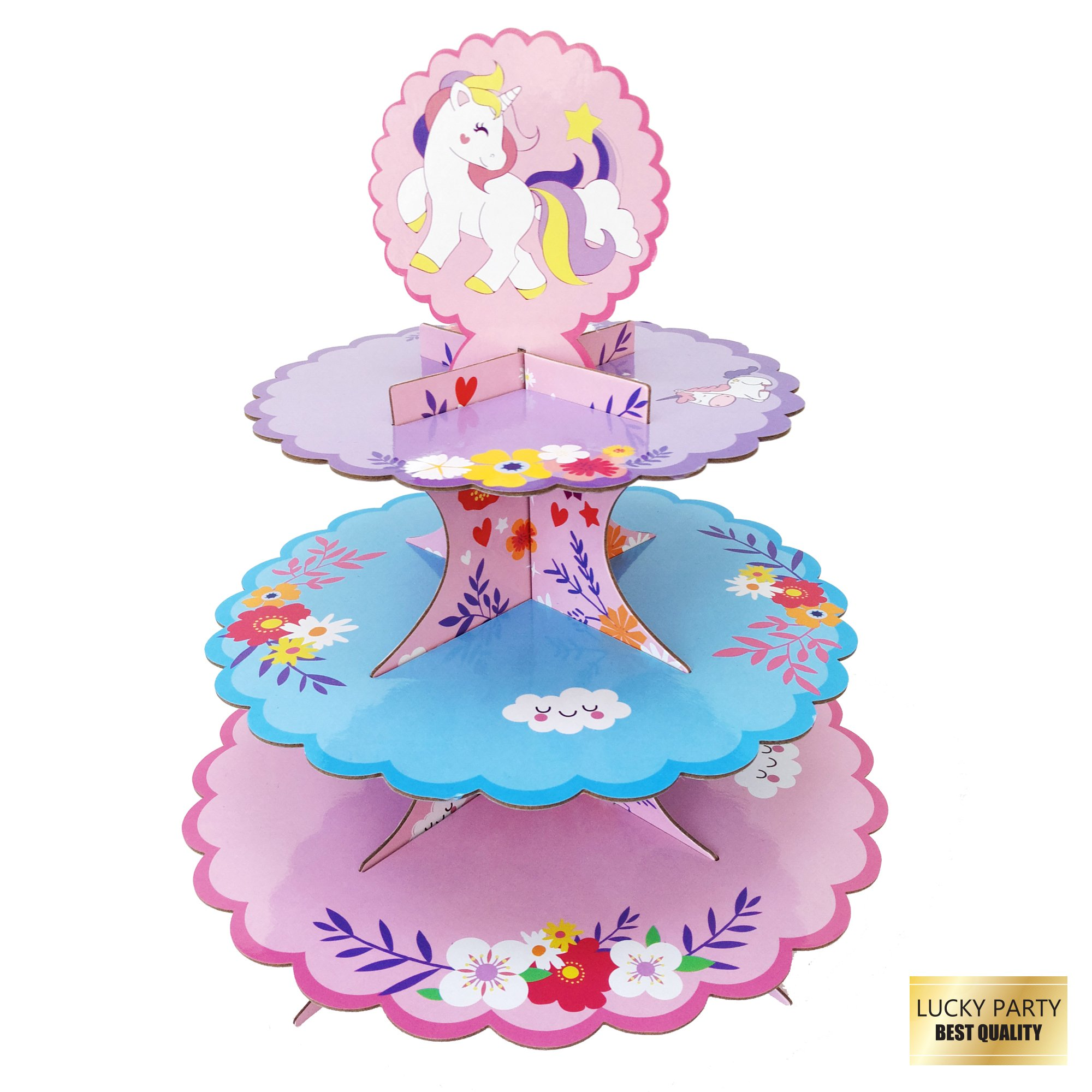 3-Tier Unicorn Cardboard Cupcake Stand Tower Display Cupcake Stand Dessert Cupcake Holder for Baby Shower, Gender Reveal Party, Kids Birthday Party or Unicorn Themed Party - 12 inches by Lucky Party