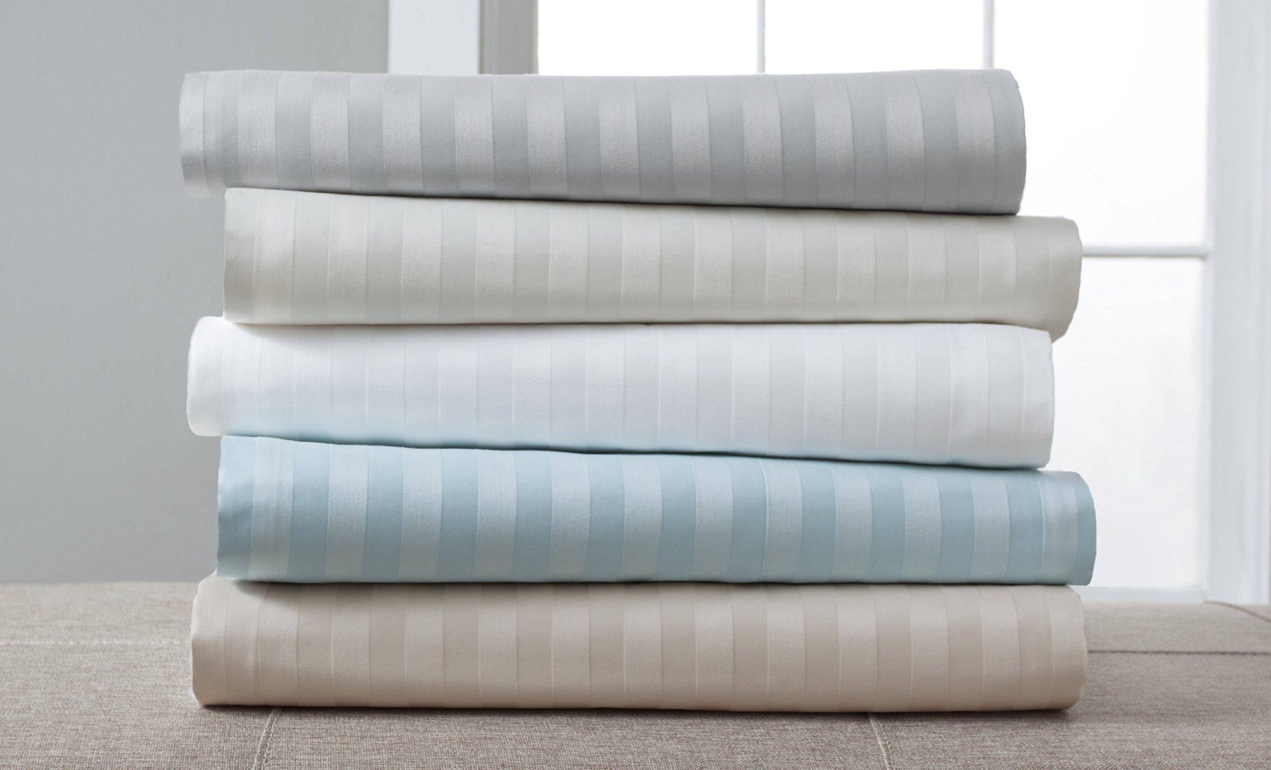 Luxury Estate 1200-Thread Count Cotton Rich 6-pc.BONUS Stripe Sheet Set, OYSTER GRAY, QUEEN