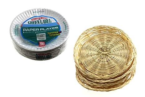Bamboo Wicker Paper Plate Holders for Kitchen. Comes with 4 Holders Measuring 10u0026quot; (  sc 1 st  Amazon.com & Amazon.com: Bamboo Wicker Paper Plate Holders for Kitchen. Comes ...
