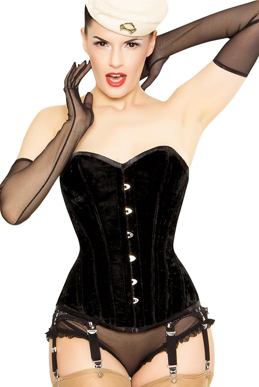 Playgirl Lush Black Velvet Overbust Authentic Full Steel Boned Shaper Corset