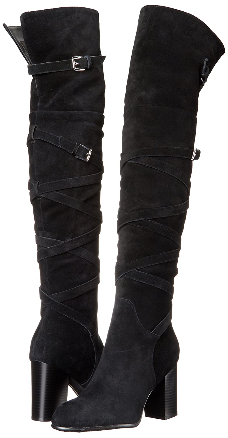 Sam Edelman Women's Black Thigh High Strappy Suede Leather Boot